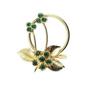 Green Rhinestone Gold Flower Brooch